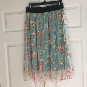 LuLaRoe Lined Floral Mesh Skirt S